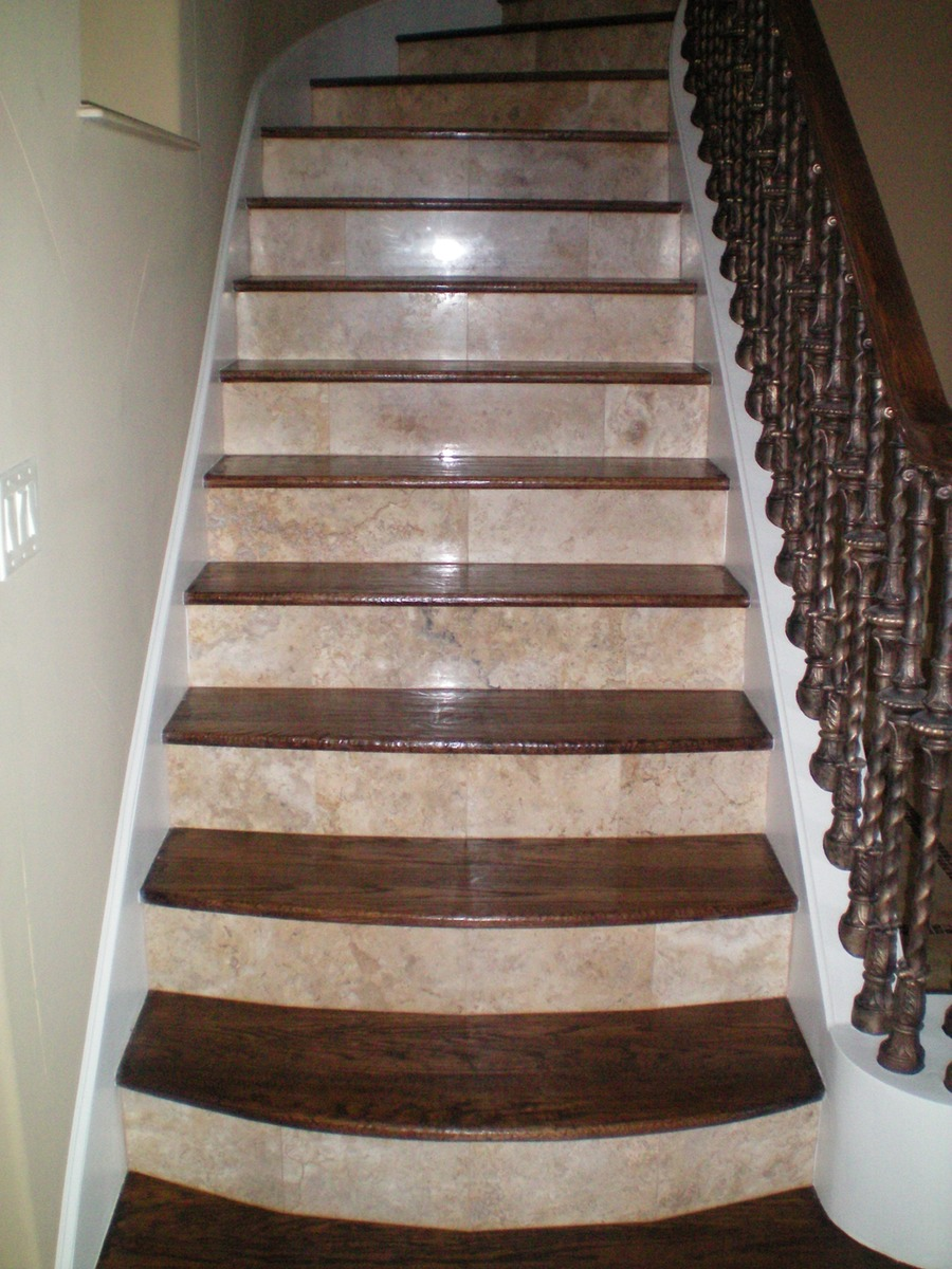 Stair cases shelton tile - Stairs with tile and wood ...
